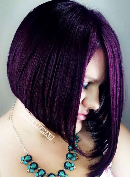Hair Bob Purple Asymmetrical