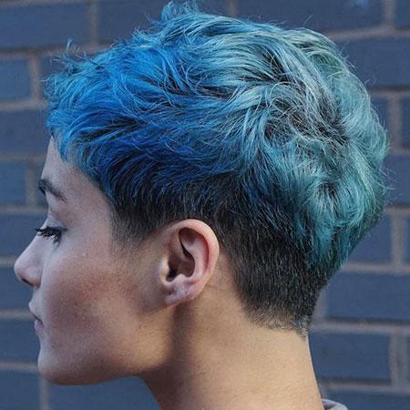 Pixie Short Choppy Blue