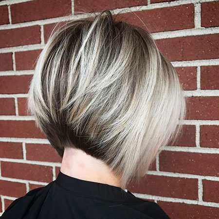 Short Concave Bob, Layered Short Bob Blonde