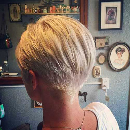 Back View, Pixie Short Layered Blonde