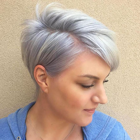 Silver Side Parted Pixie, Fine Pixie Short Choppy
