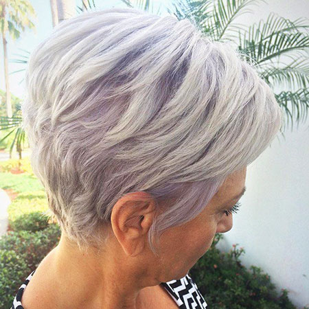 Natural Grey Hair Style, Pixie Short Layered Purple