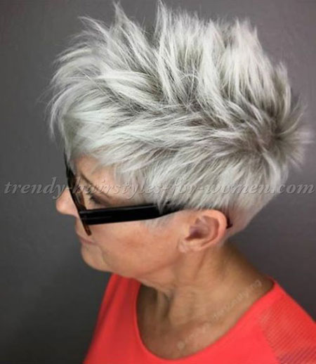 Short Hairtyle for Thick Hair Over 50, Pixie Balayage Cut Gray