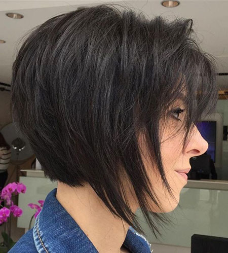 Bob Layered Brown Brunette