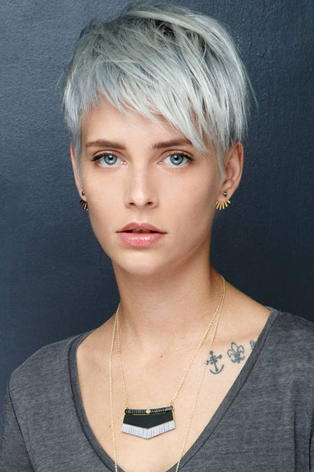 Pixie Silver Short Messy