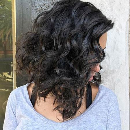 Curly Brunette Hair Lob