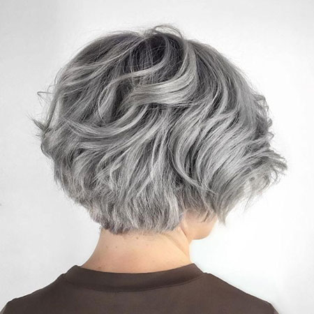 Wavy Grey Hair, Gray Layered Wavy Bob