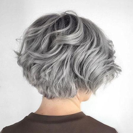 Wavy Grey Hair, Gray Layered Wavy Bob