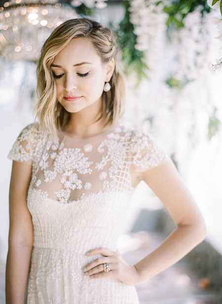 Simple Lob Style for Brides, Wedding Bridal Dresses Lob