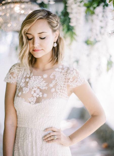 Simple Lob Style for Brides, Wedding Bridal Dresses Lob