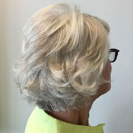 Older Women Haircut, Layered Gray Solver Hairtyle