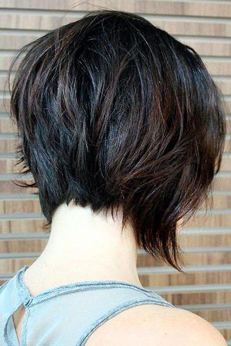 Layered Dark Brown Hair, Bob Layered Short Brown