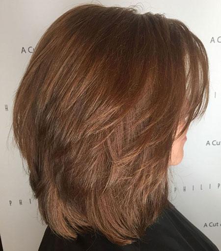 Layered Brown Medium Length