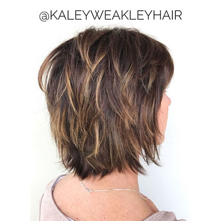 Short Hairtyle and Highlights, Bob Shag Brown Balayage