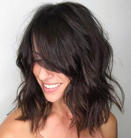 Short Hairtyle with Side Bangs, Bangs Lob Side Choppy