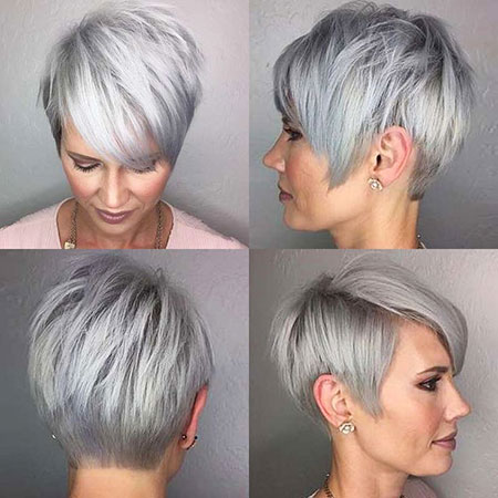 Short Silver Hairtyle, Gray Pixie Grey Short