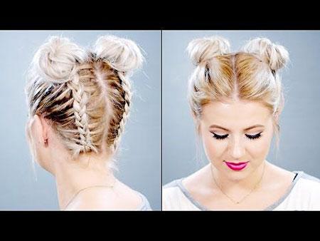 Hairtyles Braid Buns Down