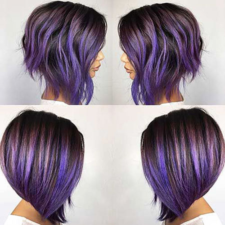 Hair Purple Bob Short