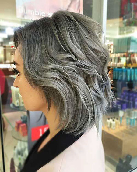 Gray Balayage Bob Purple
