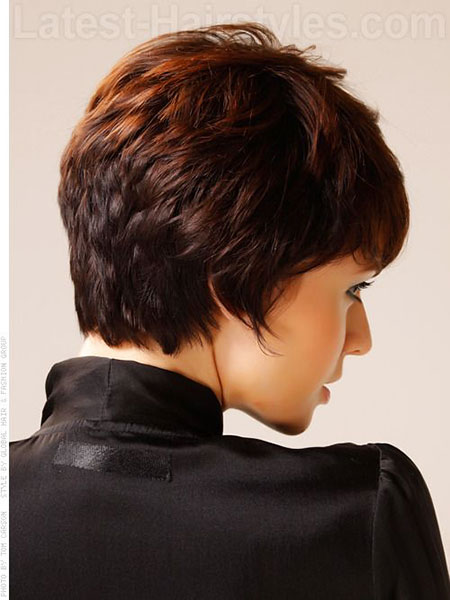 Layered Back View, Hair Short Wavy Pixie