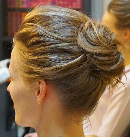 High Bun for Short Hair, Short Buns Messy Hairtyles