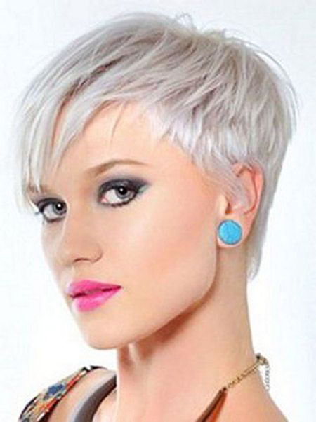 White Blonde Color, Pixie Short Hair Cut