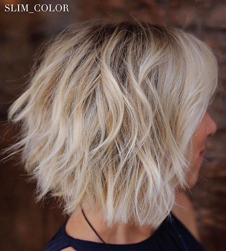 Bob Blonde Choppy Balayage