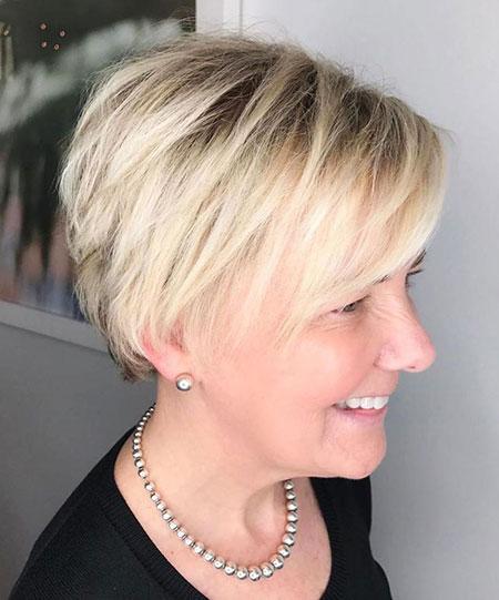 Modern Fine Short Hairtyle, Pixie Blonde Modern Balayage
