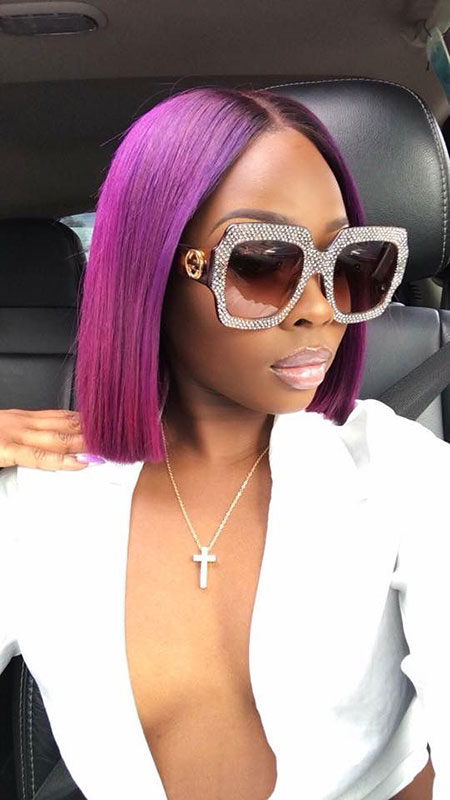 Cool Hair Cut and Color, Purple Accessories Ashanti Glass