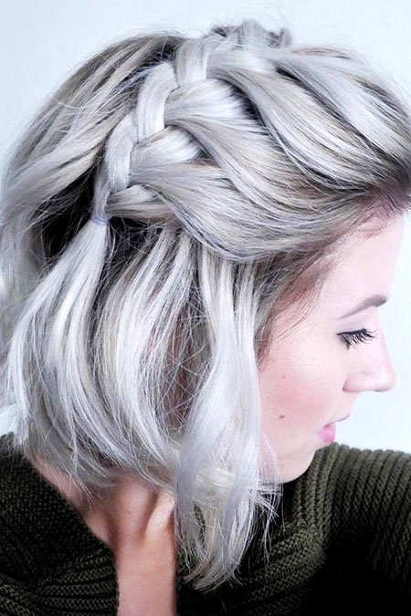 Braided Short Hair, Hair Layered Bob Grey