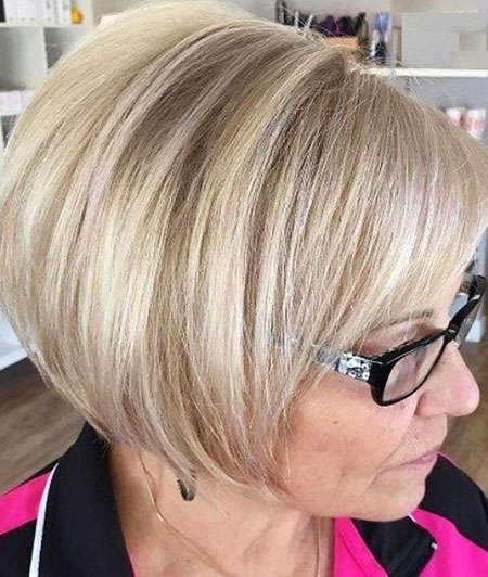 Classy Short Bob Haircut for Older Women, Bob Blonde Women Bobs