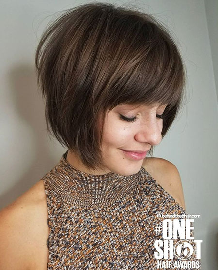 Short Ash Brown Bob, Bob Short Hair Bangs