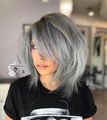 Gray Bob Side Bangs