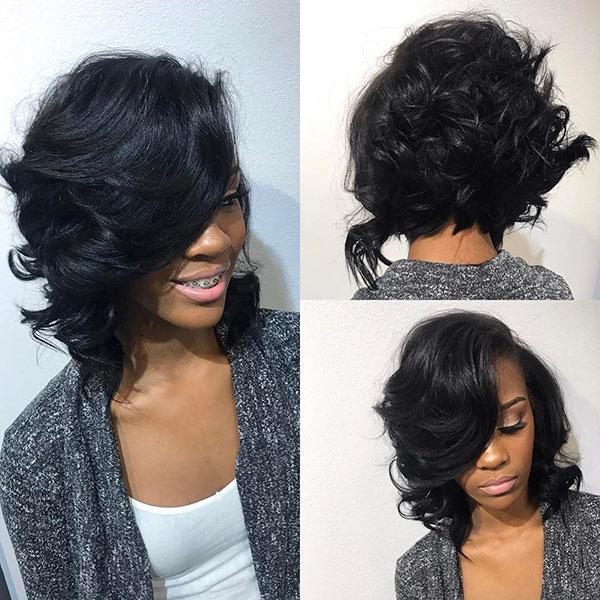 Lockige Bob-Frisuren für schwarze Frauen
