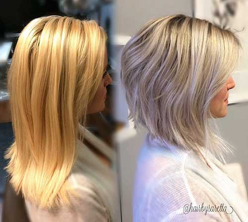 Short Blonde Cut Bob With Bangs