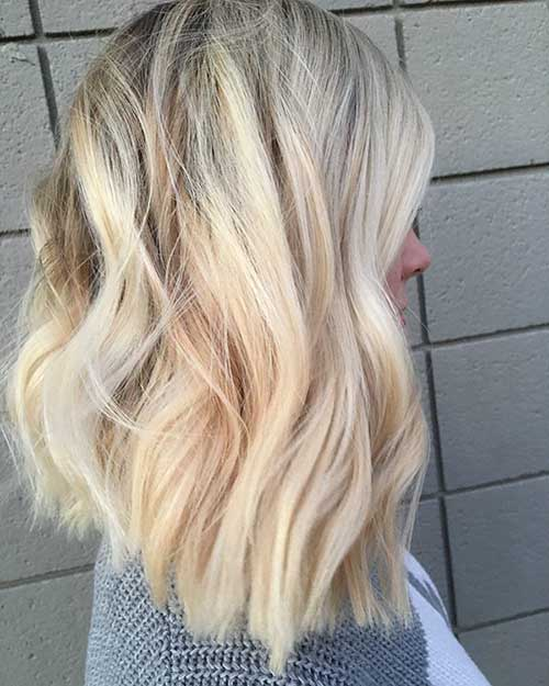 Inverted Long Blonde Bob Cut