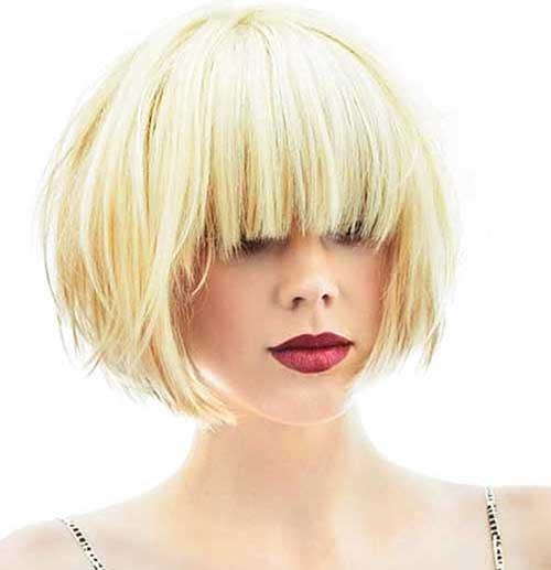 Short Blonde Cuts Bob With Bangs