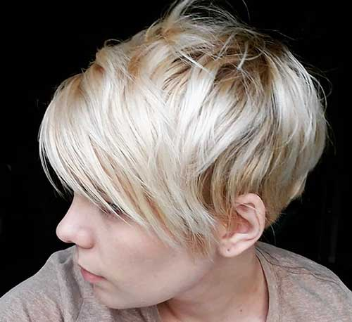 Blonde Pixie Cuts With Long Bangs